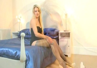 blond chick in nylons finger for a livecam