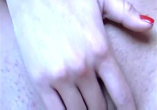 sexy golden-haired selfshot masturbation