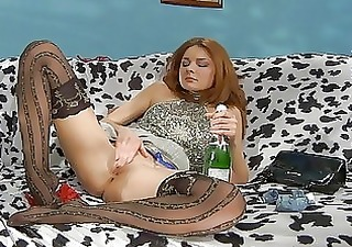 drunk redhead chick in darksome stockings fingers