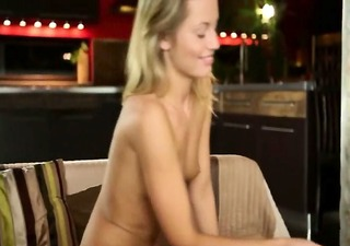 seductive blond making luxury finger
